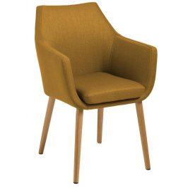 SCANDI Okrová látková židle Marte s područkami