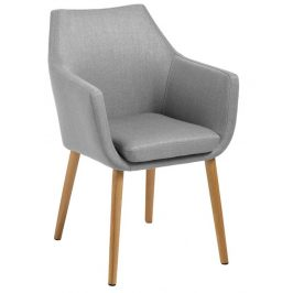SCANDI Světle šedá látková židle Marte s područkami Židle do kuchyně
