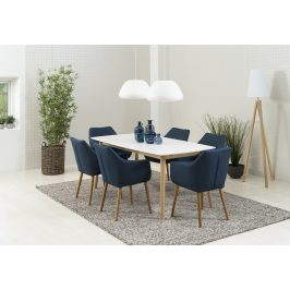 SCANDI Tmavě modrá látková židle Marte s područkami