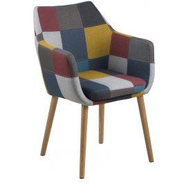 SCANDI Patchwork látková židle Marte s područkami