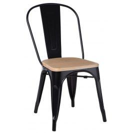 Culty Černá jídelní židle Tolix 45 s borovicovým sedákem