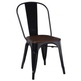 Culty Černá kovová jídelní židle Tolix 45 cm s ořechovým sedákem