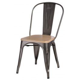 Culty Jídelní židle Tolix 45, metalická/borovice