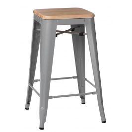Culty Šedá kovová barová židle Tolix 75 se světlým dřevěným sedákem