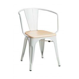 Culty Jídelní židle Tolix 45 s područkami, bílá/borovice