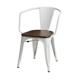 Culty Jídelní židle Tolix 45 s područkami, bílá/ořech