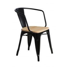 Culty Jídelní židle Tolix 45 s područkami, černá/borovice Židle do kuchyně