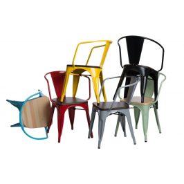 Culty Jídelní židle Tolix 45 s područkami, černá/borovice