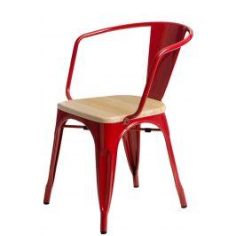 Culty Jídelní židle Tolix 45 s područkami, červená/borovice Židle do kuchyně