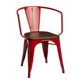 Culty Jídelní židle Tolix 45 s područkami, červená/ořech