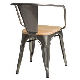 Culty Jídelní židle Tolix 45 s područkami, metalická/borovice
