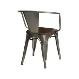 Culty Jídelní židle Tolix 45 s područkami, metalická/ořech