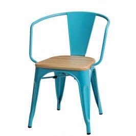 Culty Jídelní židle Tolix 45 s područkami, modrá/borovice