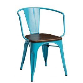 Culty Jídelní židle Tolix 45 s područkami, modrá/ořech