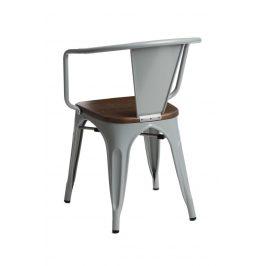Culty Jídelní židle Tolix 45 s područkami, šedá/ořech
