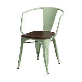 Culty Jídelní židle Tolix 45 s područkami, sv. zelená/ořech
