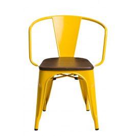 Culty Jídelní židle Tolix 45 s područkami, žlutá/ořech