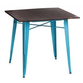 Culty Jídelní stůl Tolix 76x76, modrá/ořech