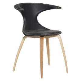 DAN-FORM Černá kožená židle s dubovou podnoží DanForm Flair