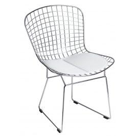 Culty Chromová židle Harry s bílým podsedákem