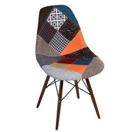 Culty Celočalouněná židle DSW v provedeni patchwork s tmavou podnoží