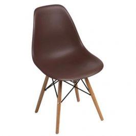 Culty Hnědá plastová židle DSW s bukovou podnoží