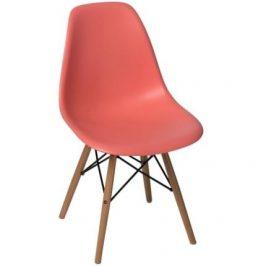 Culty Meruňková plastová židle DSW s bukovou podnoží