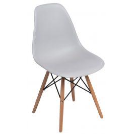 Culty Světle šedá plastová židle DSW s bukovou podnoží