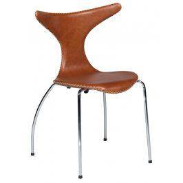 Hnědá kožená jídelní židle DAN-FORM Dolphin s chromovanou podnoží