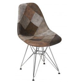 Culty Béžovohnědá čalouněná židle DSR v provedení patchwork