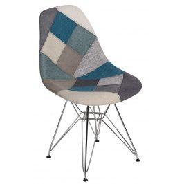 Culty Modrošedá čalouněná židle DSR v provedení patchwork