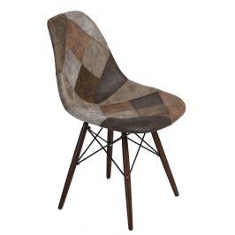Culty Béžovohnědá celočalouněná židle DSW v provedení patchwork s tmavou podnoží