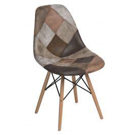 Culty Béžovohnědá celočalouněná židle DSW v provedení patchwork