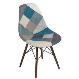 Culty Modrošedá celočalouněná židle DSW v provedení patchwork s tmavou podnoží