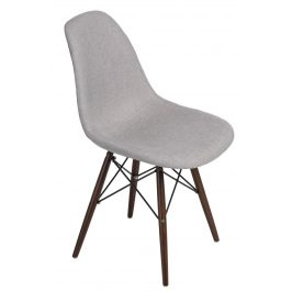 Culty Šedá celočalouněná židle DSW v provedení patchwork s tmavou podnoží