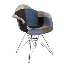 Culty Mordo šedá patchwork čalouněná židle DAR