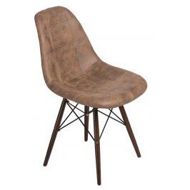 Culty Hnědá celočalouněná židle DSW s tmavou podnoží