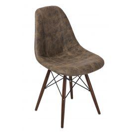 Culty Tmavě hnědá celočalouněná židle DSW s tmavou podnoží