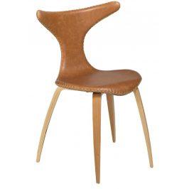 Hnědá kožená jídelní židle DAN-FORM Dolphin s dubovou podnoží
