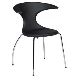 DAN-FORM Černá čalouněná jídelní židle DanForm Flair s chromovanou podnoží