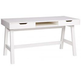 Hoorns Bílý masivní pracovní stůl Warde 140x62 cm