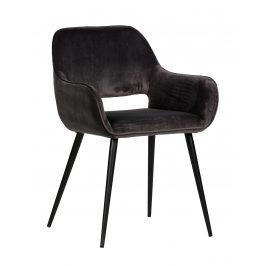 Hoorns Tmavě šedá sametová jídelní židle Monky