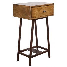 Hoorns Přírodní dřevěný noční stolek Trax