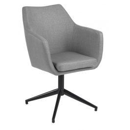 SCANDI Šedá látková otočná jídelní židle Marte