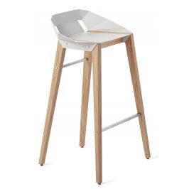 Bílá hliníková barová židle Tabanda DIAGO 75 cm s dubovou podnoží