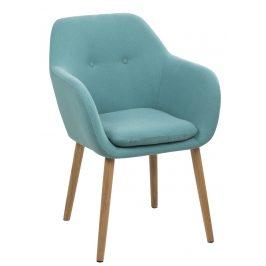 SCANDI Zelená látková jídelní židle Milla s područkami