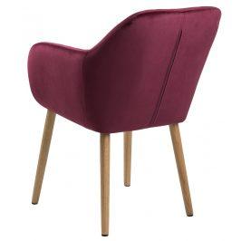 SCANDI Červená sametová jídelní židle  Milla s prošíváním