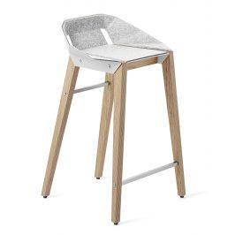 Bílá plstěná barová židle Tabanda DIAGO s dubovou podnoží 62 cm