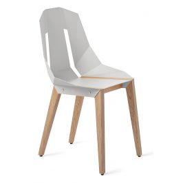 Bílá hliníková židle Tabanda DIAGO s dubovou podnoží