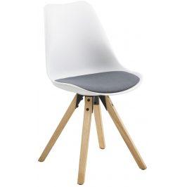 SCANDI Bílá plastová jídelní židle Damian s tmavě šedým sedákem